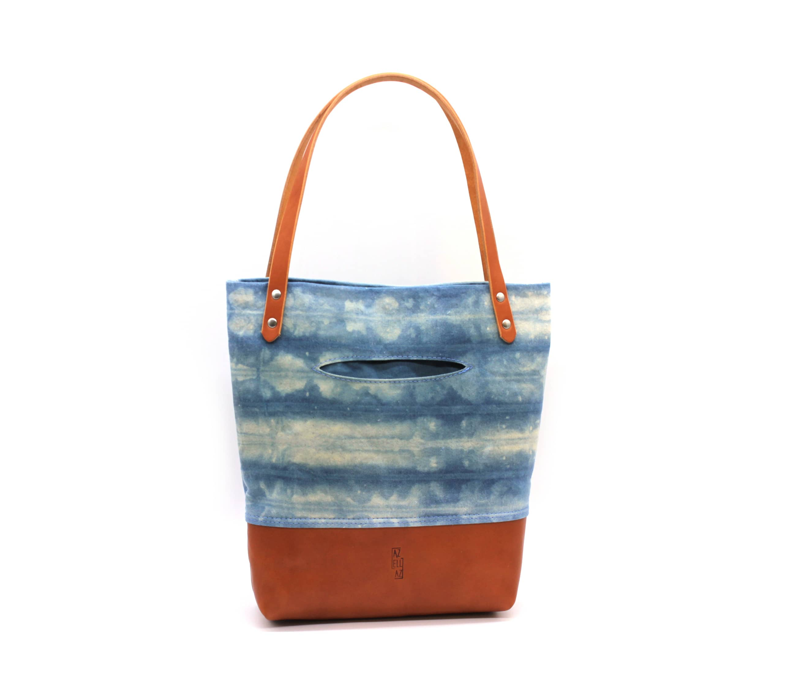/az0062005-01_fxg1qq.jpg view of the Indigo Shibori Small Tote / Tan Leather by Azellaz