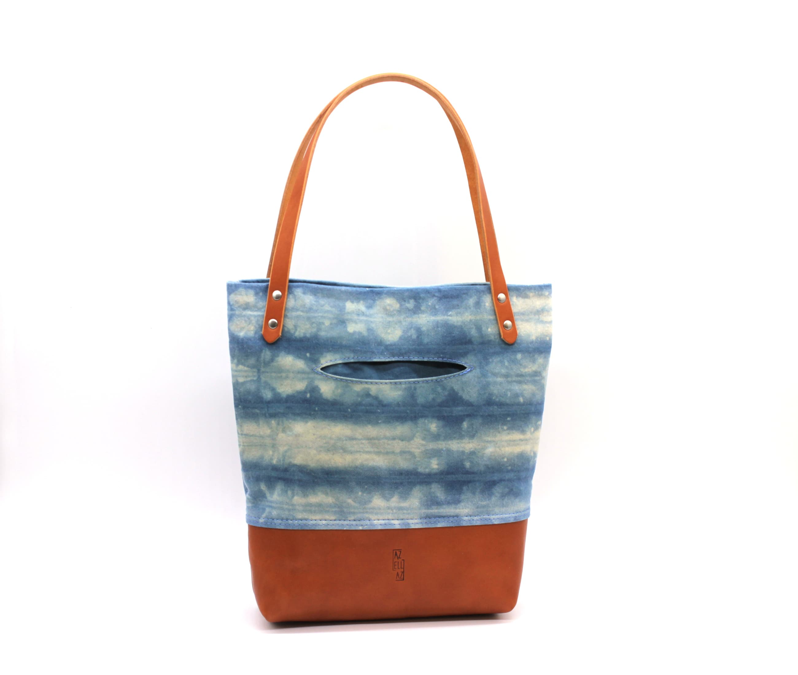 /az0062005-01_pvme7o.jpg view of the Indigo Shibori Small Tote / Tan Leather by Azellaz