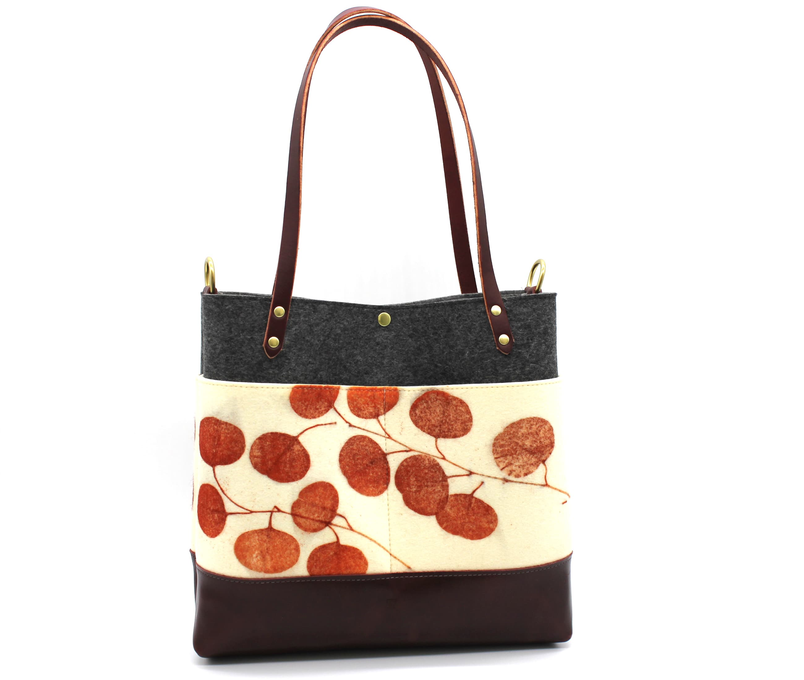 /az0067014-01_wbngre.jpg view of the Medium Felt Tote / Eucalyptus Print by Azellaz
