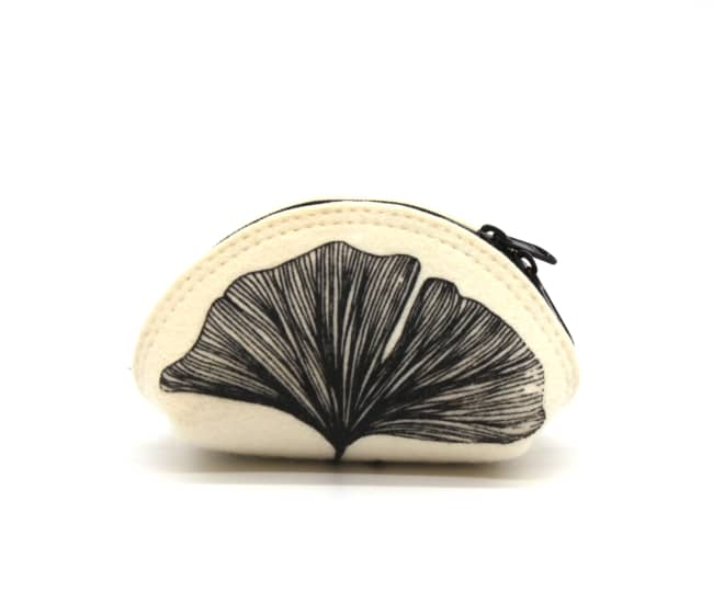 Small Felt Circle Pouch / Black Gingko by Azellaz