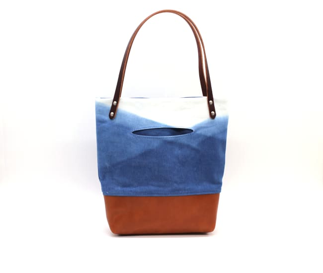 /az0062007-02_zlpgth.jpg view of the Indigo Mountain Small Tote / Tan Leather by Azellaz