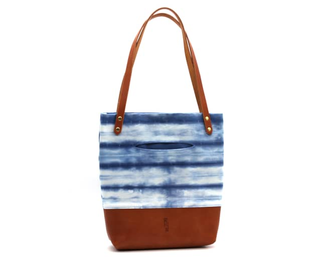 /az0062008-01_jmurwi.jpg view of the Indigo Shibori Small Tote / Tan Leather by Azellaz