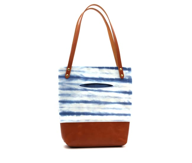 /az0062008-02_wwig64.jpg view of the Indigo Shibori Small Tote / Tan Leather by Azellaz