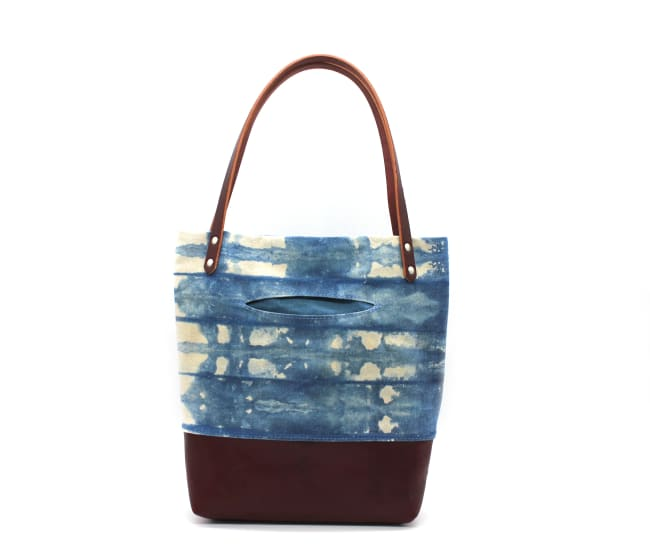 /az0062010-01_k90ras.jpg view of the Indigo Shibori Small Tote / Maroon Leather by Azellaz