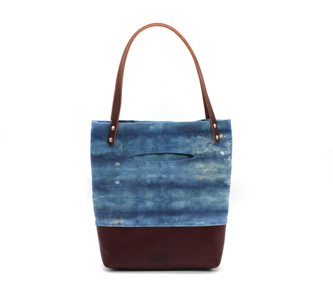 /az0062010-02_gqjwgs.jpg view of the Indigo Shibori Small Tote / Maroon Leather by Azellaz