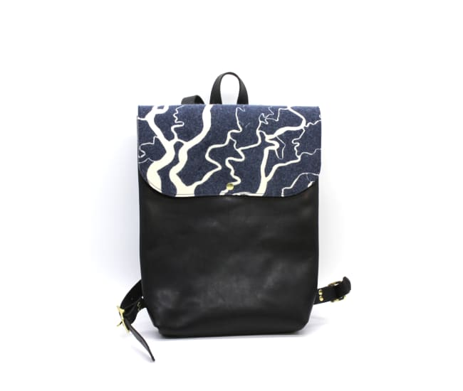 /az0069001-01_jt9srz.jpg view of the Leather and Felt Backpack / Black and Navy by Azellaz