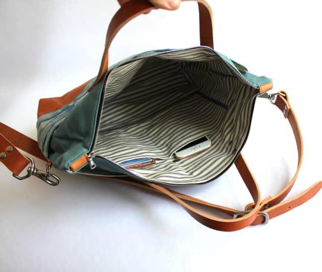/mediumtote-indigo-mountain-tan-leather-inside.jpg view of the Shibori Medium Tote / Maroon Leather by Azellaz