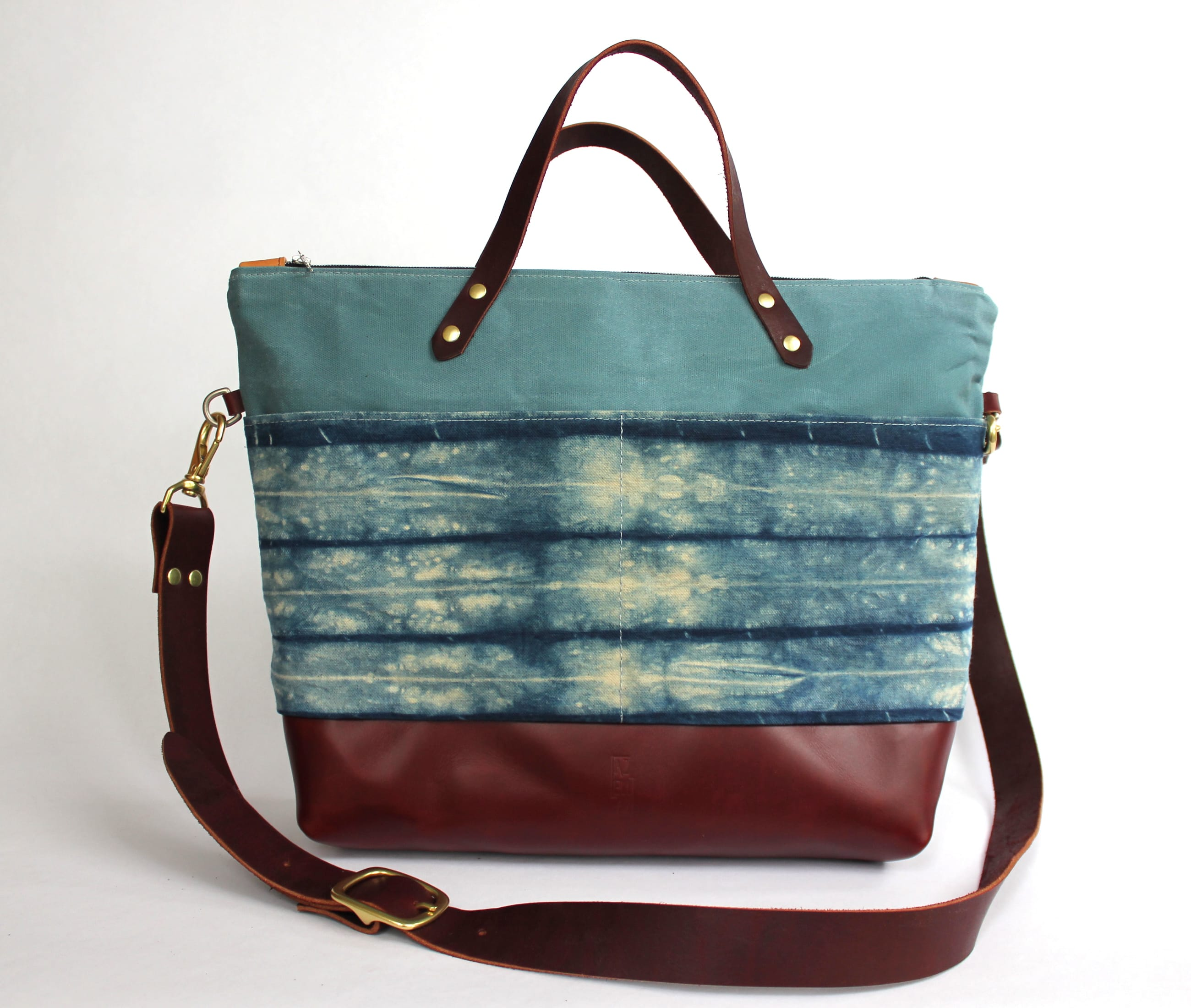 Medium tote indigo shibori natural maroon leather front by Azellaz