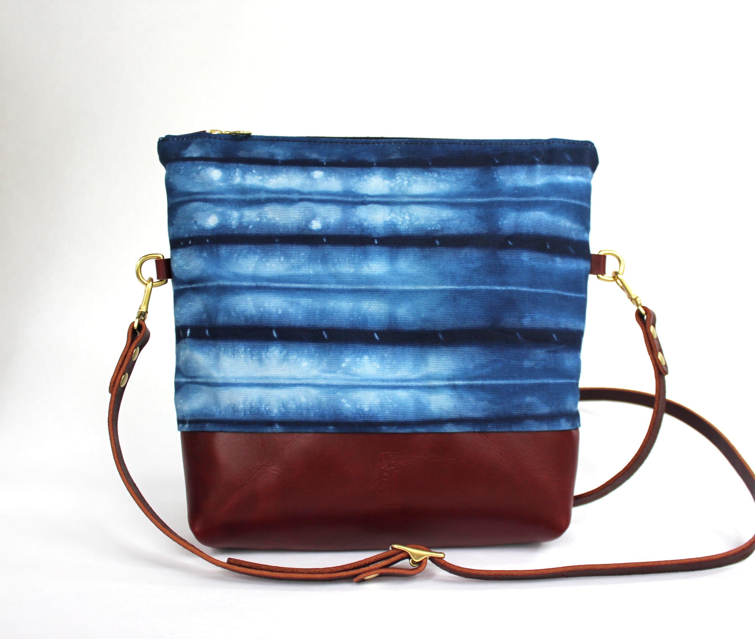 Crossbody indigo shibori white maroon leather front by Azellaz