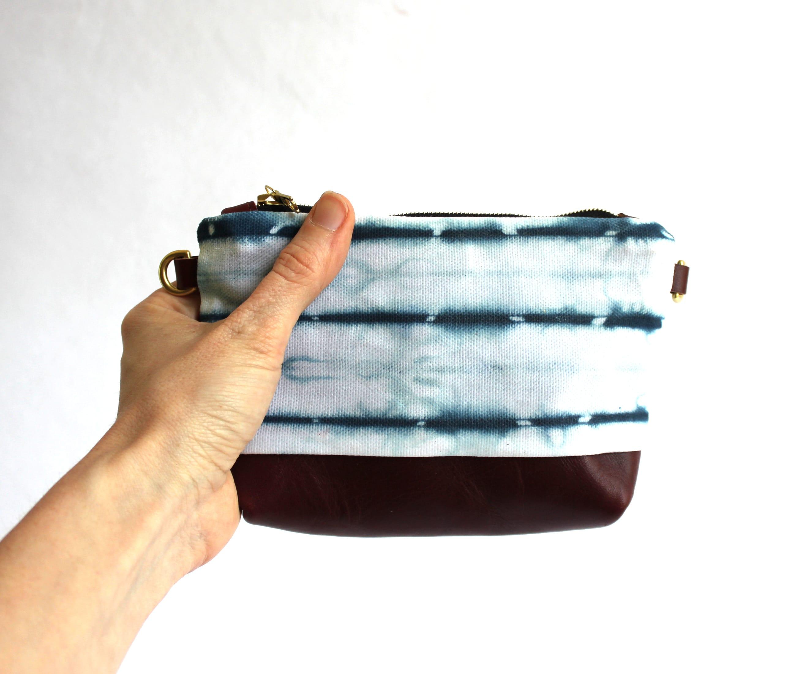 Clutch indigo shibori white maroon leather strap3 by Azellaz