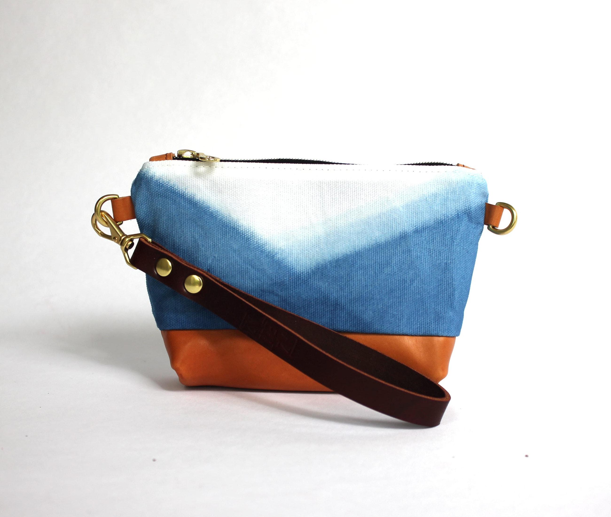 Clutch indigo mountain lisaro leather front by Azellaz