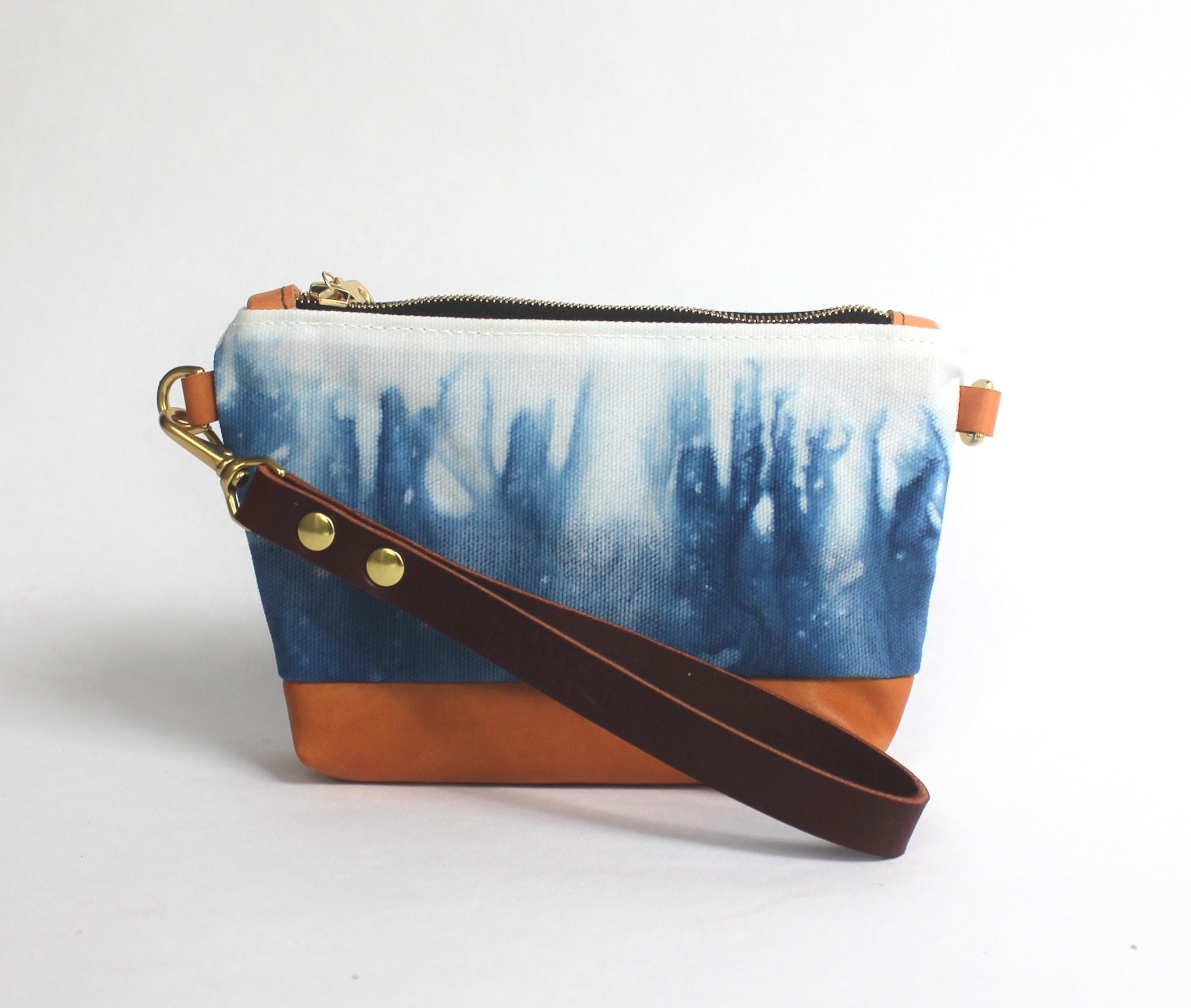 Clutch indigo prairie lisaro leather by Azellaz