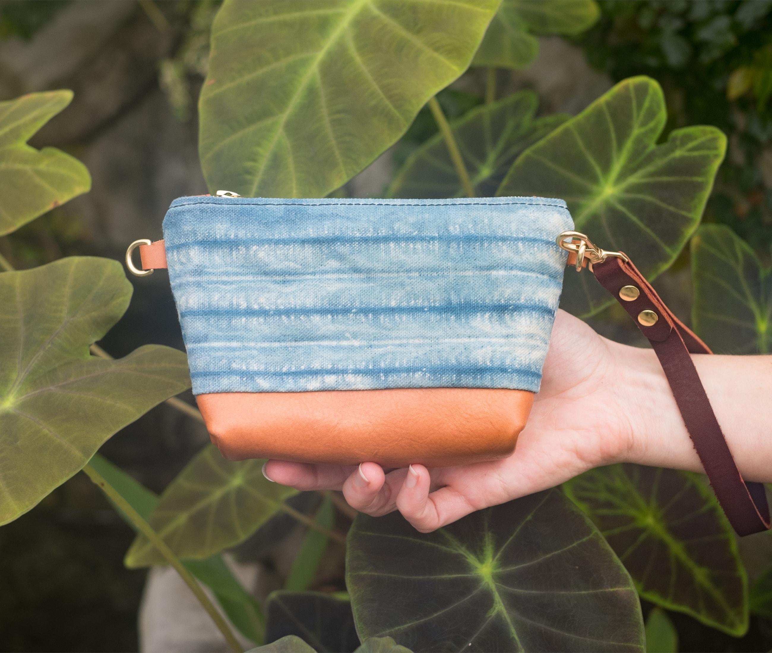 Clutch indigo shibori lisaro leather lookbook1 by Azellaz