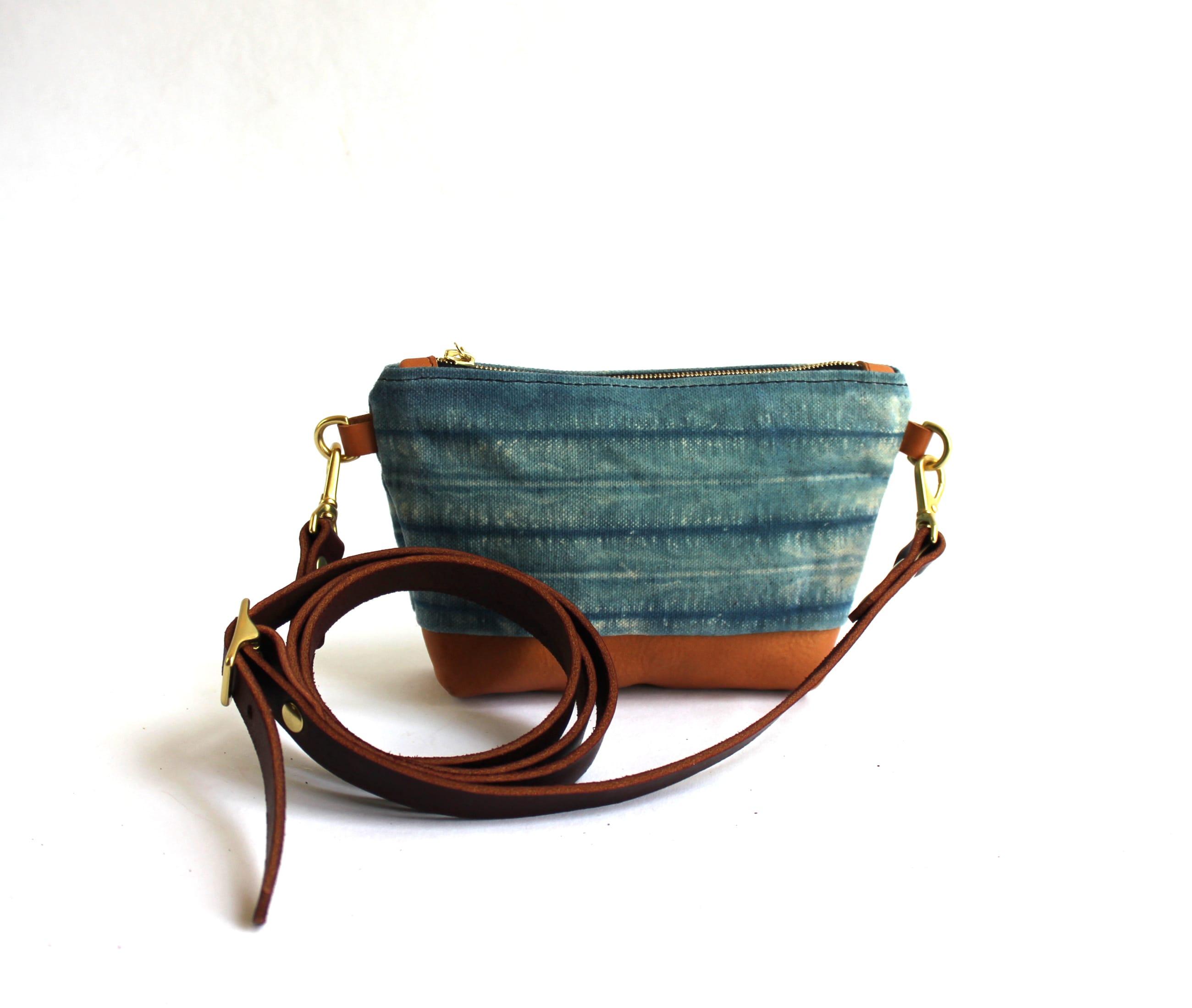 Clutch indigo shibori natural lisaro leather strap1 by Azellaz
