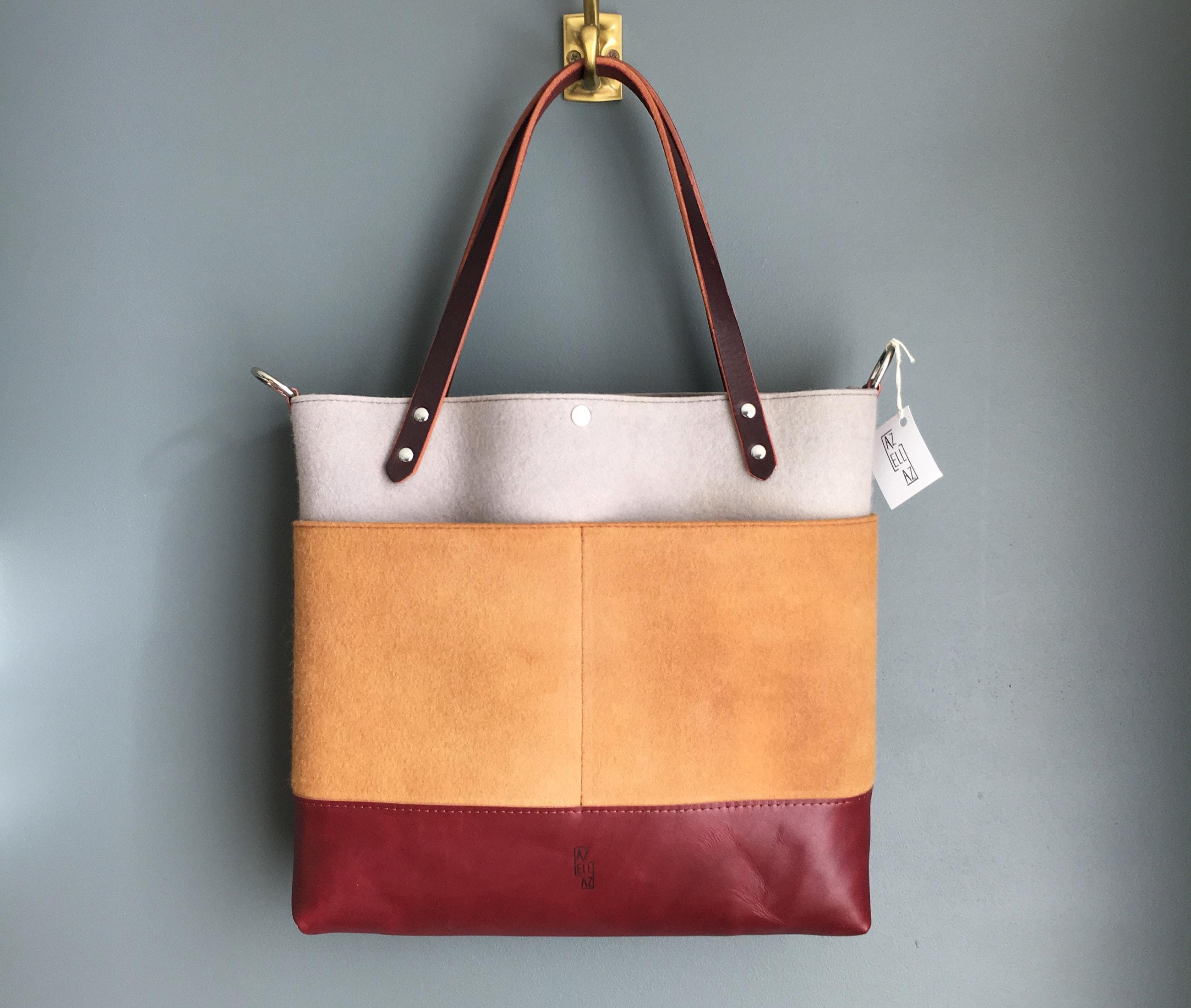 Medium tote felt cutch iron maroon leather by Azellaz
