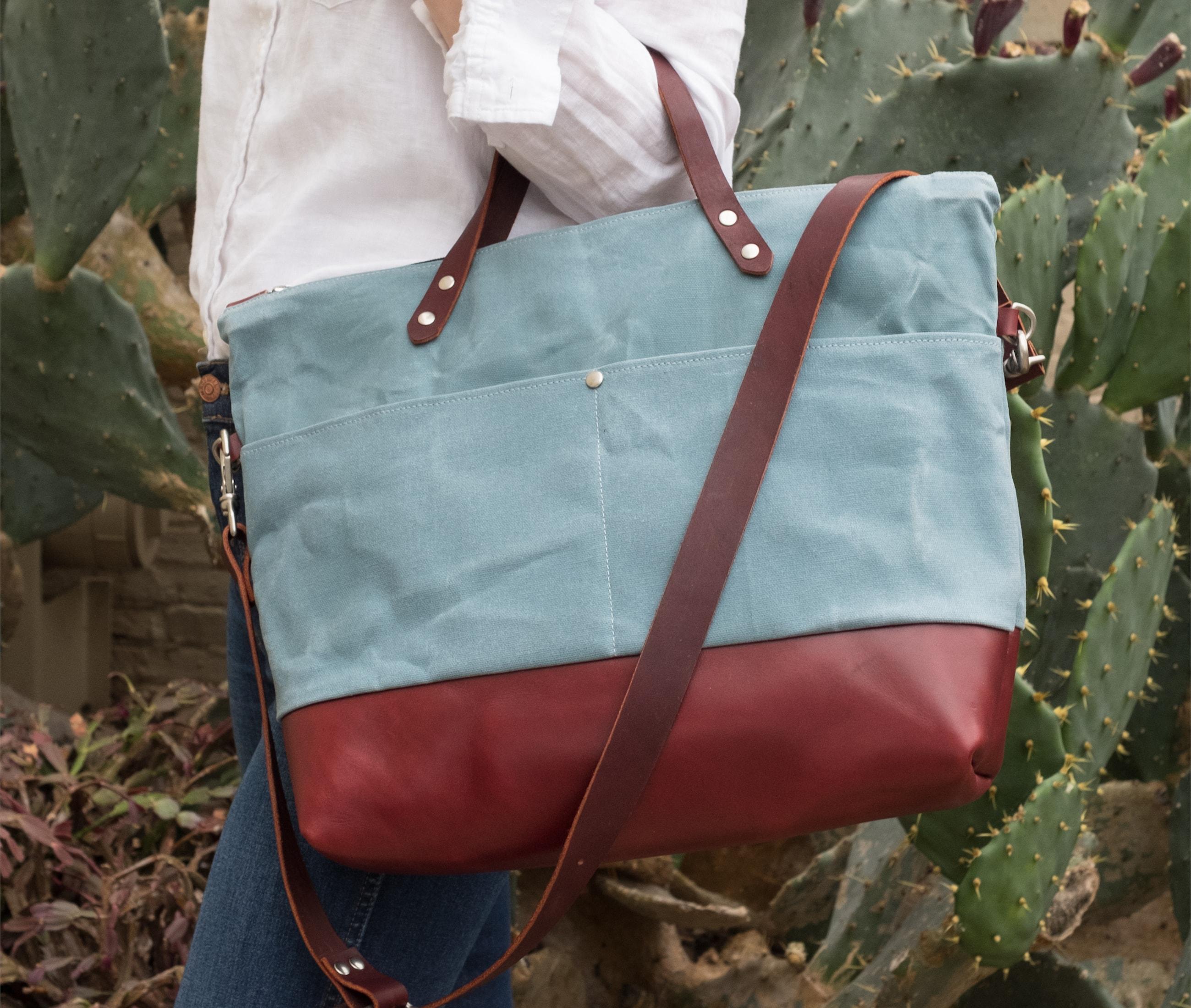 Medium tote cerulean maroon leather lookbook3 by Azellaz