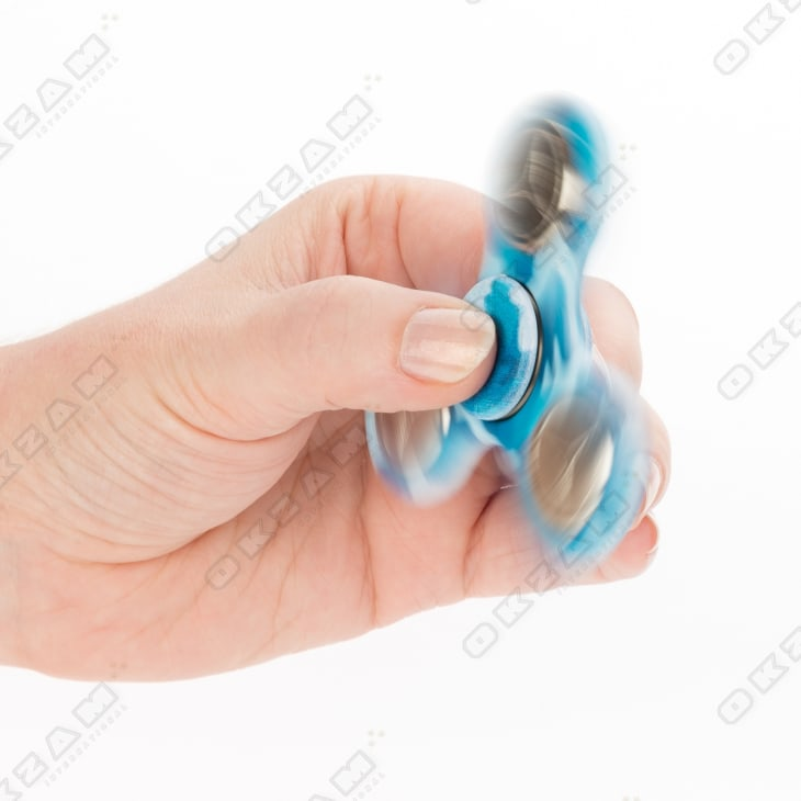 Fidget Spinner camouflage blau Metallgewicht Finger Kreisel ADHS Anti Streß
