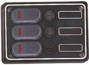3 Vanntette brytere m/lys og sikringer  (90 x130)