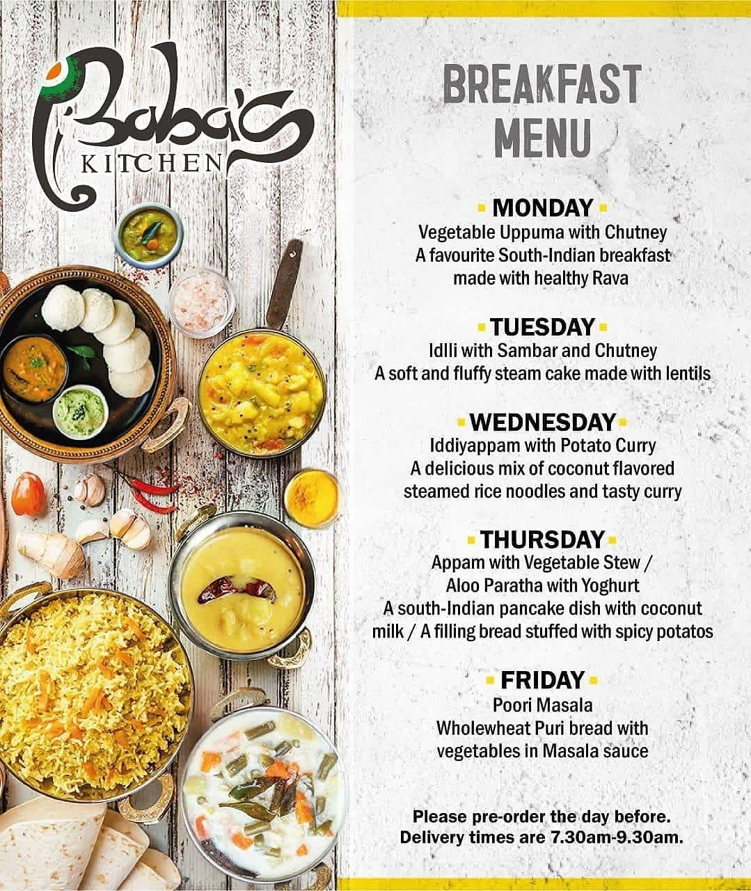 Baba's Kitchen Breakfast Menu