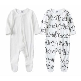 Moon and Back Baby Organic Footed Zip-Front Sleep and Play Newborn red//white stripe