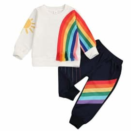 Mousmile Toddler Baby Pullover Colorful Stripe Long Sleeve Tops Casual Warm Outdoors Sweatshirt for Boys Girls Clothes