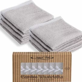 6 Pack 10 x 10 Inches Green Perfect Gift Baby Face Towels NTBAY Baby Bamboo Washcloths