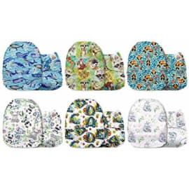 Fantasy Forest Mama Koala One Size Baby Washable Reusable Pocket Cloth Diapers 6 Pack with 6 One Size Microfiber Inserts and 6 Headbands