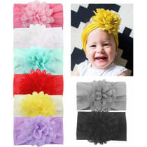 bc2d9ecc4341 Baby Girl Nylon Headbands Newborn Infant Toddler Hairbands with Bows  Children Hair Accessories - 1-nylon Flower9 (8pcs)