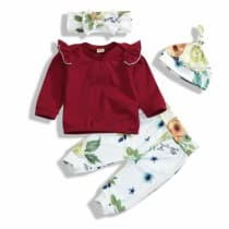 Toddler Baby Girls Fall Outfit Long Sleeve Ruffle Shirts+Floral  Pants+Headband+Hat Clothes Set 4Pcs (Red 3f313c096f84
