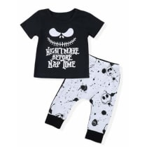 4baa4070c391 Toddler Baby Boy Clothes Halloween 2Pcs Outfit Set Letter Printing Skull  T-Shirt and Pants Clothing Set(6-12 M) · Amazon