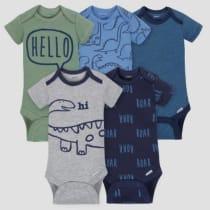 a12c3cdab91 Gerber Baby Boys  5pk Short Sleeve Onesies Bodysuit Dino - Blue