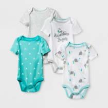 Baby Boys  4pk Short Sleeve Bodysuit White Aqua 0-3M - Cloud Island  153  1b51807d92f3