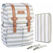 SavvyMami Striped Diaper Bag Backpack for Mom - Bags For Stylish Moms –  Large Tan and White Striped Backpack Diaper Bag WITH Changing Pad and Wipes  Case and ... dda0d07efe81d