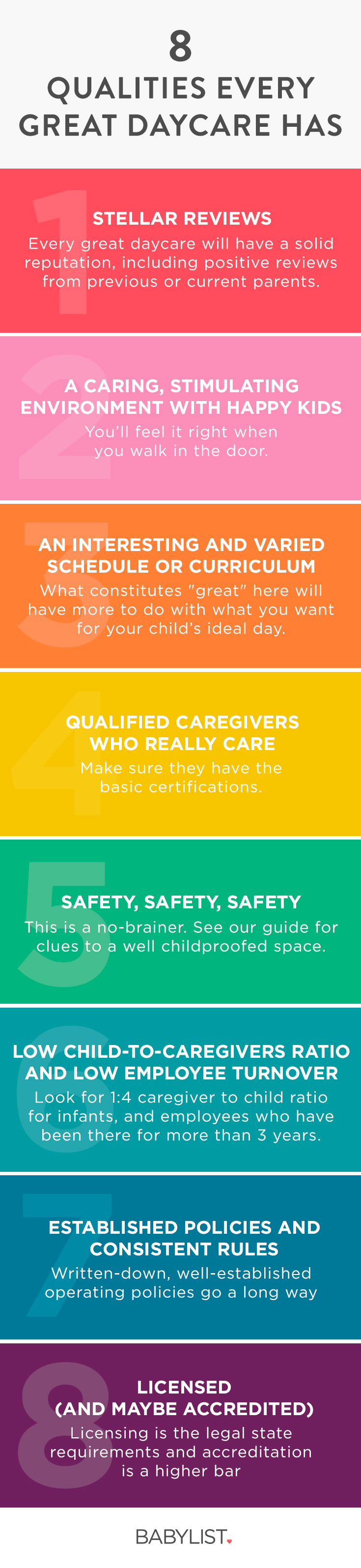 The best daycare has a magical combination of everything on this list, so you feel secure and happy to leave your child there every day.