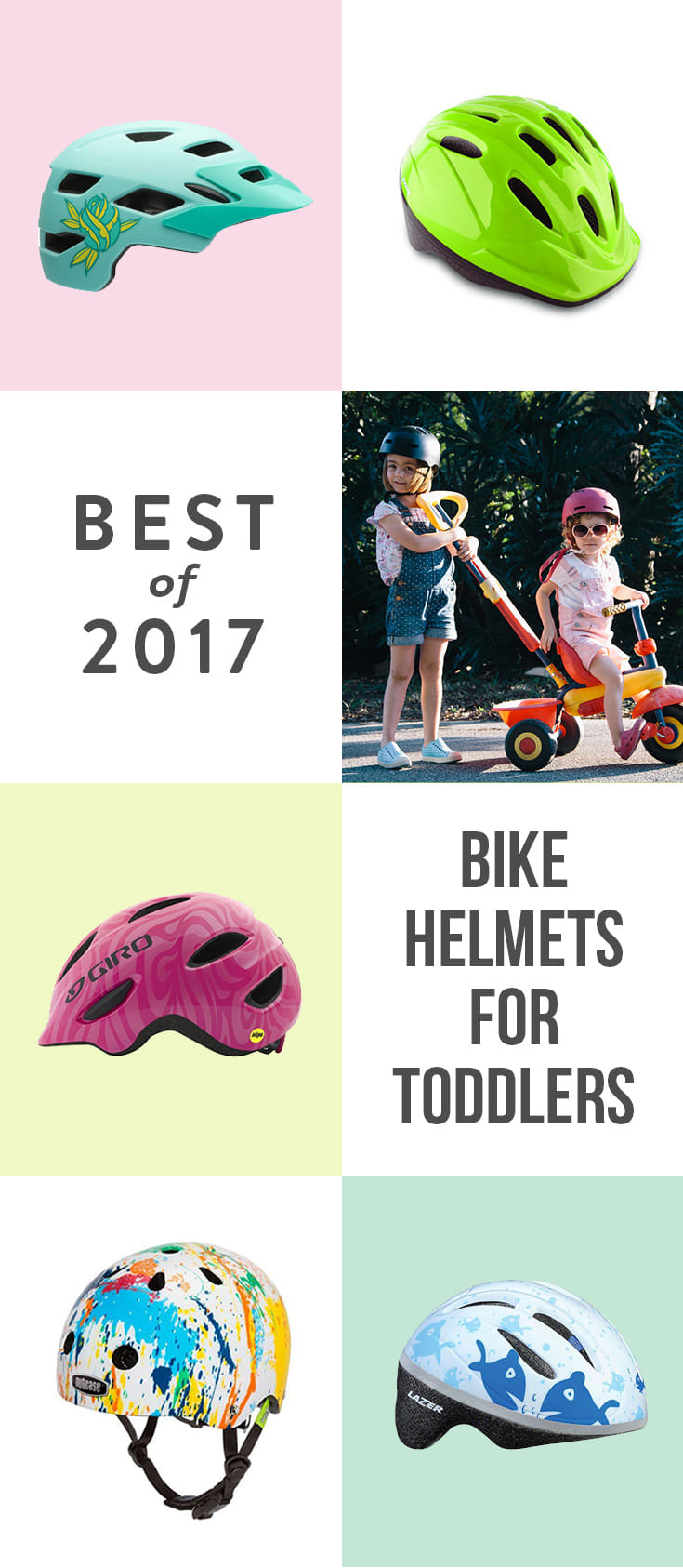 Whether hopping on a seat on your bike or on their own two wheels, these five bike helmets will keep your tot safe and cool.