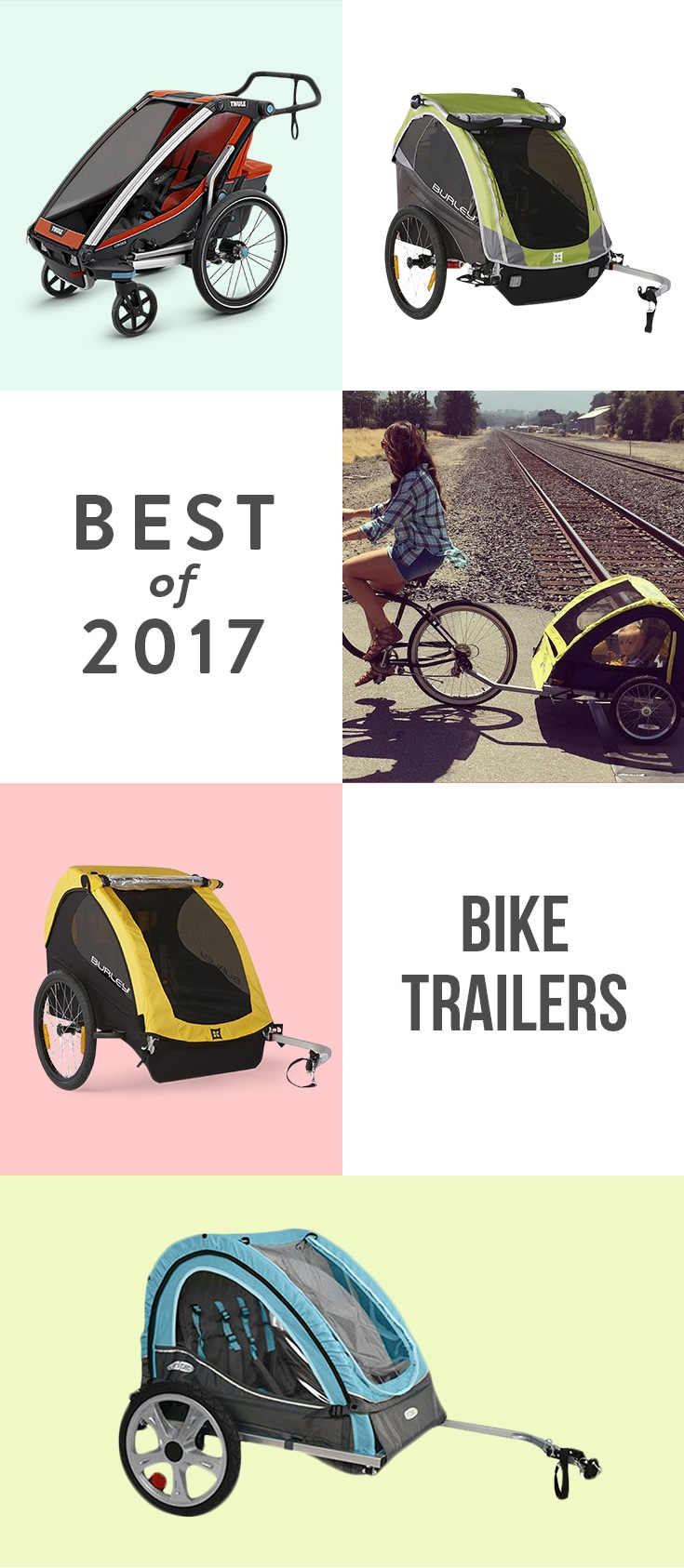 There's a lot to love about bike trailers: they can tote 1-2 kids (plus gear!), they're comfortable for little passengers, and many convert into joggers and strollers. Ride on.