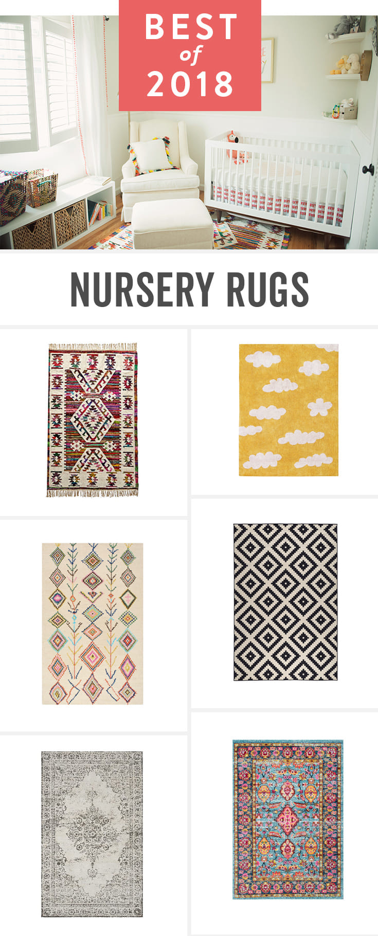 Pull together your nursery decor—and provide a soft spot for you and baby—with one of these rugs.