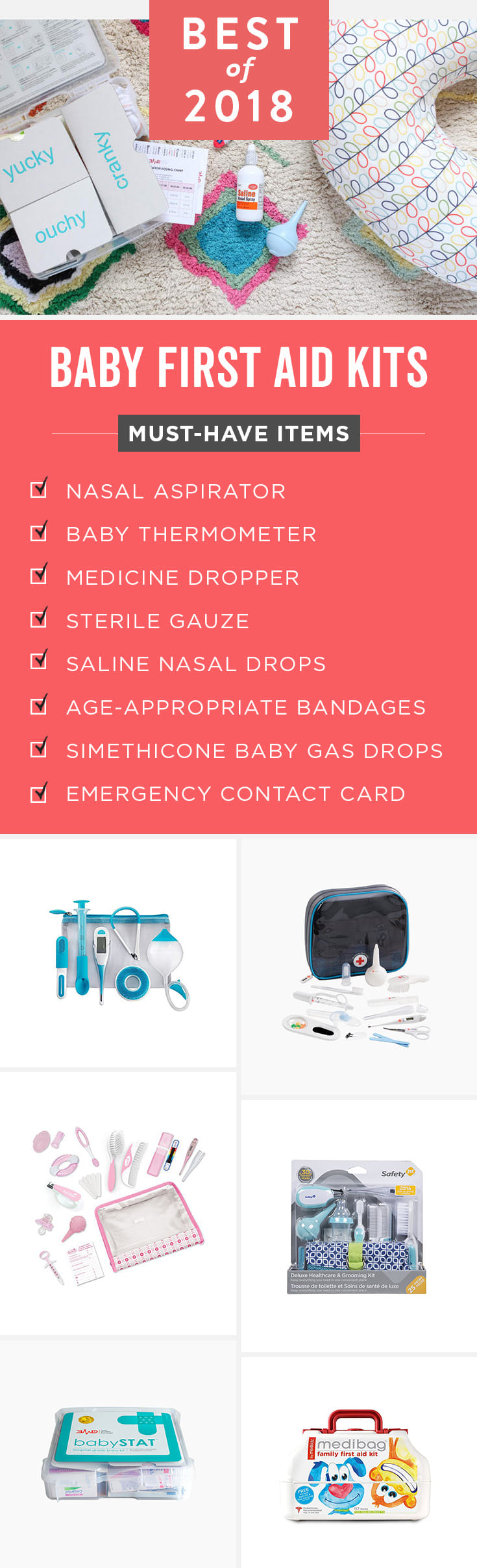 A first aid kit for baby and families should have a few essentials in it. Luckily these all-in-one kits and cases have exactly what you need in case of an emergency, plus they're easy to throw in your car or diaper bag.