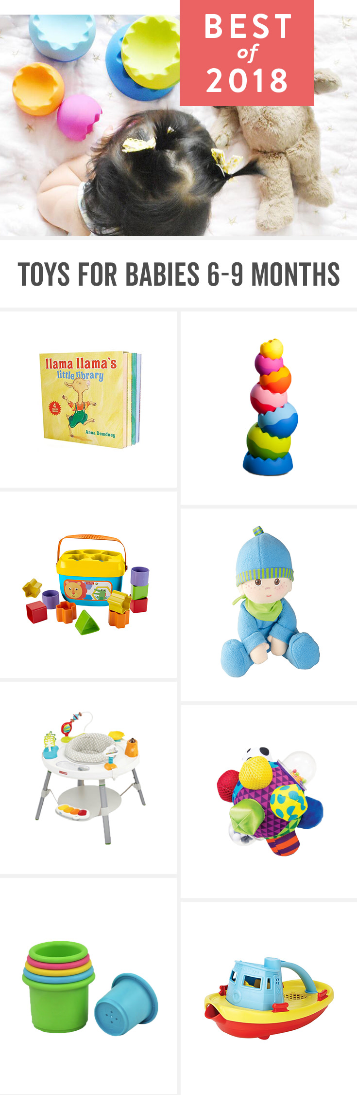 Babies start to develop a real interest in the world around 6 months and grow quickly emotionally, physically and cognitively between then and 9 months. These play toys for baby can help foster that development.