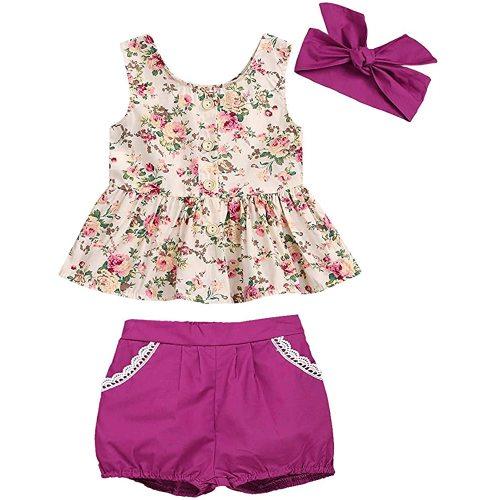 BELS Summer Baby-Girls Off Shoulder Sleeveless Halter Romper Cactus Floral Print Backless Baby Jumpsuit