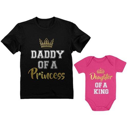 851f8b7b9 Father & Daughter Matching Set Gift for Dad & Baby Girl Bodysuit & Men's  Shirt - Man Black / Baby Wow Pink
