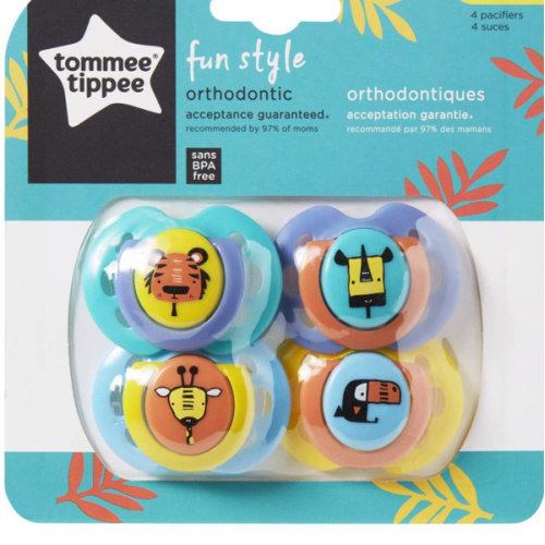 Tommee Tippee Closer to Nature Fun Style Baby Soother Pacifier 0-6 months 4 Count Multi-Colored