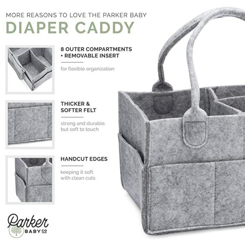 Nursery Storage Wipes Bag for Mom /& Newborn Kids Nappy Caddy with Changeable Compartments Portable Multifunctional Basket Car Organizer Baby Diaper Caddy Dark gray Felt Baby Caddy Organizer
