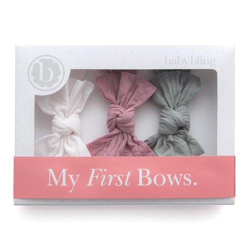 Pocket of Pastels Knot Bows Set {set of 3} gray linen peach thatched /& linen seafoam