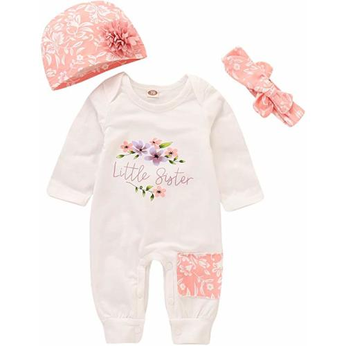 4453a4ad2360 Baby Girl Clothes Little Sister Newborn Outfit Print Long Sleeve Romper +  Hat + Headband Set 3Pc