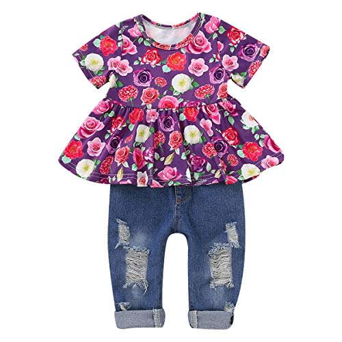 Mornyray Kids Baby Girls Summer Outfit 2Pcs Cherry Short Sets Tank Tops+Shorts
