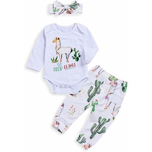 80a4ec279e5e Baby Girls Boys Romper Newborn Alpaca Print Bodysuit Bowknot Headband  Cactus Floral Pants Outfits Set - 80/6-12 Month - Baby Cactus Clothes