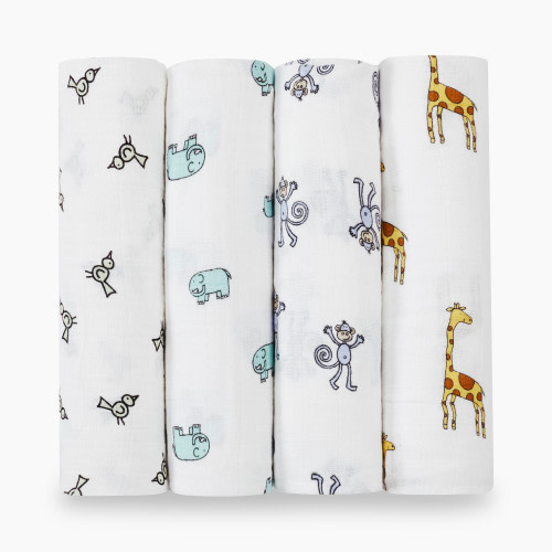 Aden + Anais Classic Swaddles (4 Pack) - Jungle Jam