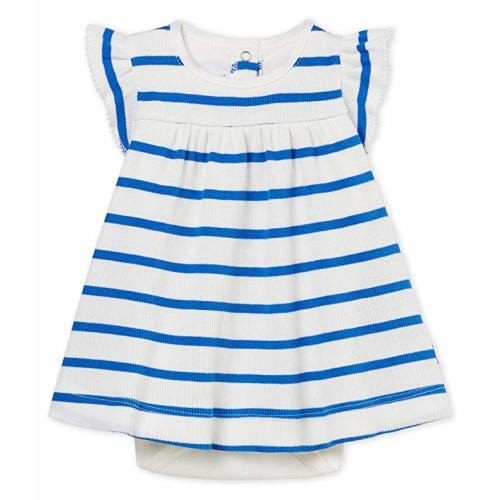 64d137db1 Petit Bateau Baby Girls Sleeveless Striped Dress Bodysuit - 6 Months