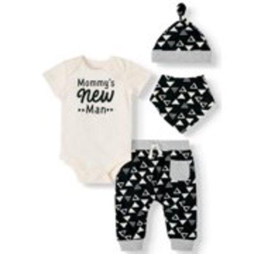 Lanhui Baby Boys Short Sleeve Letter Print T-Shirt Tops Guitar Print Pants Set Athletic Outfits